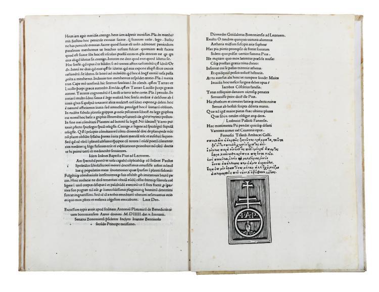 Pio Giovanni Battista. Annotamenta. (Al colophon:) apud Ioannem Antonium Platonicum de Benedictis, 1505