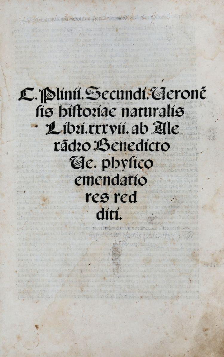 Plinius Secundus Gaius. Historiae naturalis Libri XXXVII... (Al colophon:) [Venezia]: per Ioannem rubeum & Bernardinum, 1507