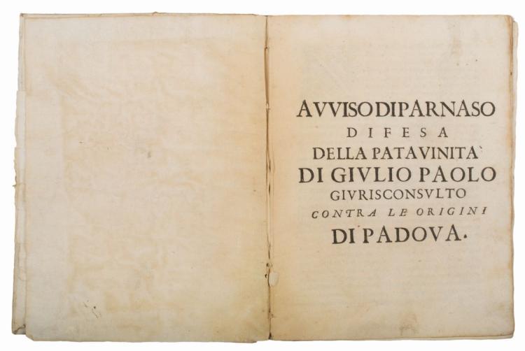 Portenari Angelo. Avviso di Parnaso... (Al colophon:) In Padova: Per Pietro Paolo Tozzi, 1625
