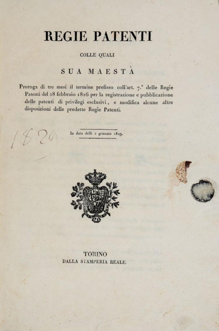 Regno di Sardegna. Regie Patenti... Torino: Dalla Stamperia Reale, s.d. [1829]