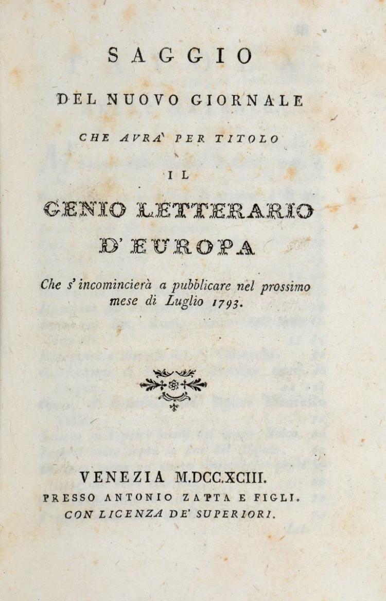 Riviste e Periodici. Il Genio Letterario d'Europa. Tomo Primo [-Decimottavo]. Venezia: Presso Antonio Zatta e figli, 1793-1794