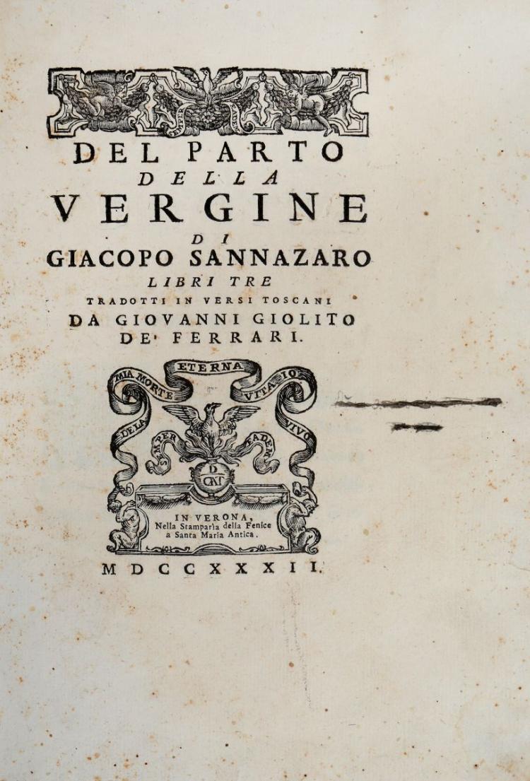 Sannazzaro Iacopo. Del Parto della Vergine... In Verona: Nella Stamparìa della Fenice, 1732