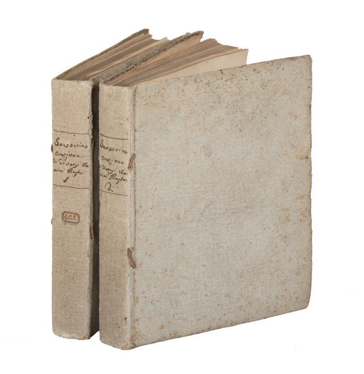 Sansovino Francesco. Delle Orazioni volgarmente scritte... Tomo Primo [-Secondo]... In Lione [i.e. Milano]: Vincenzo e Giuseppe Lanais, 1741