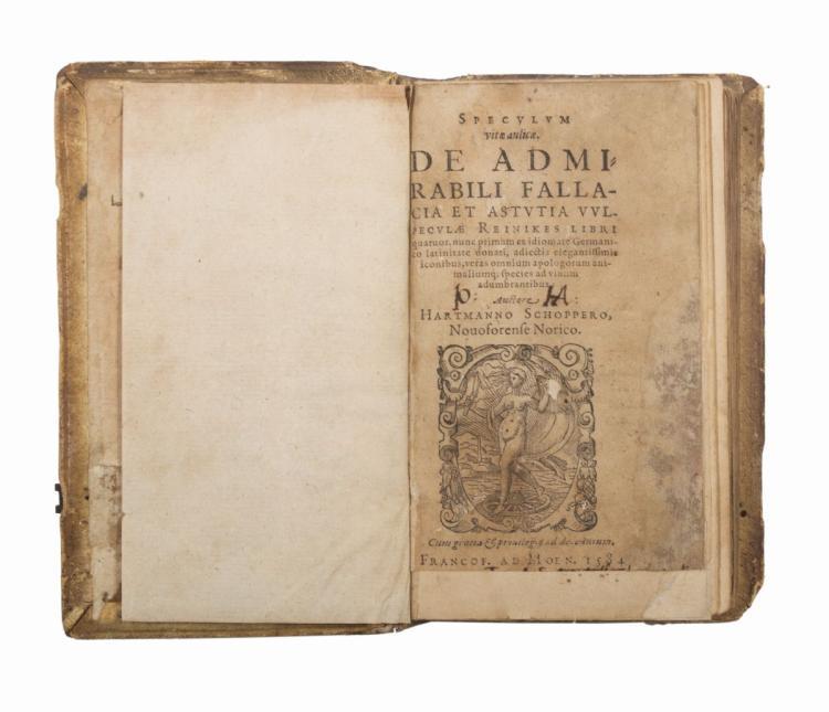 Schopper Hartmann. Speculum vitae aulicae... (Al colophon:) Francofurti: ex officina typographica Nicolai Bassaei, 1584