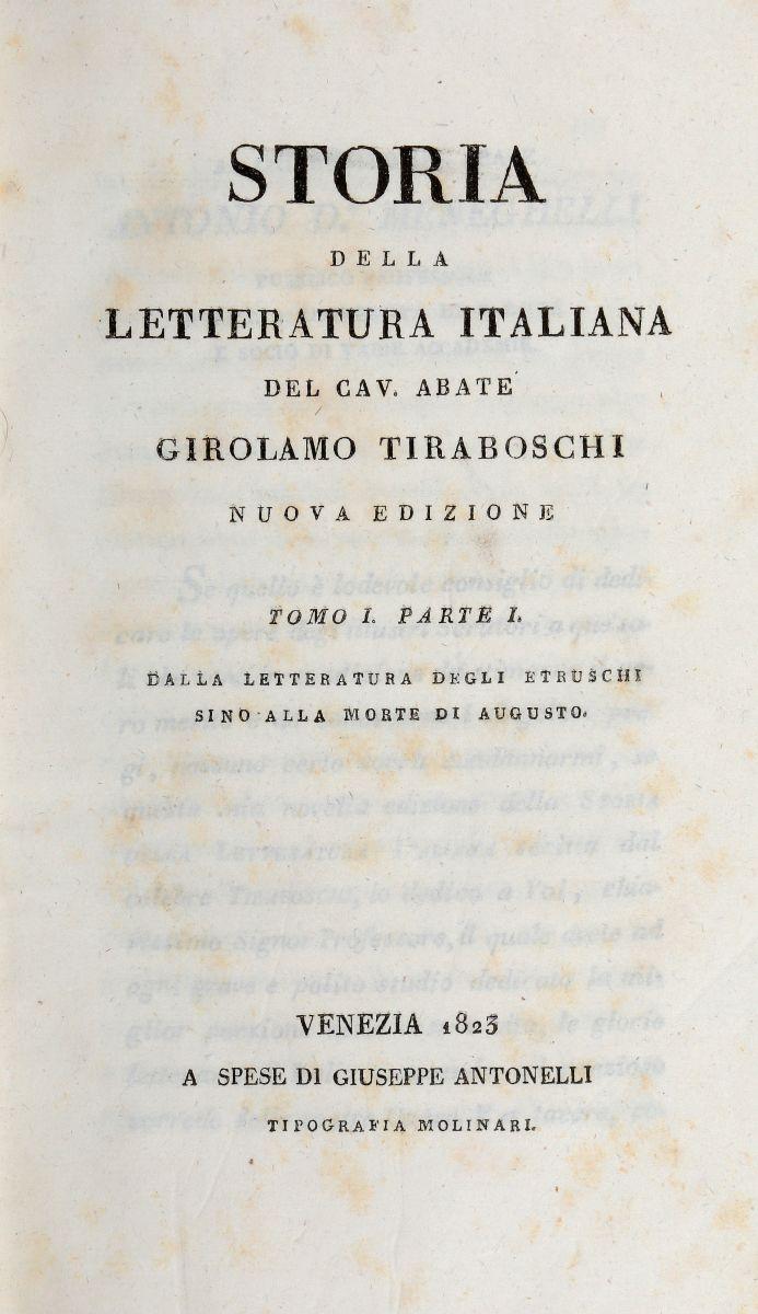 Tiraboschi Girolamo. Storia della Letteratura Italiana... Tomo I [-XXVII]. Venezia: Giuseppe Antonelli, 1823