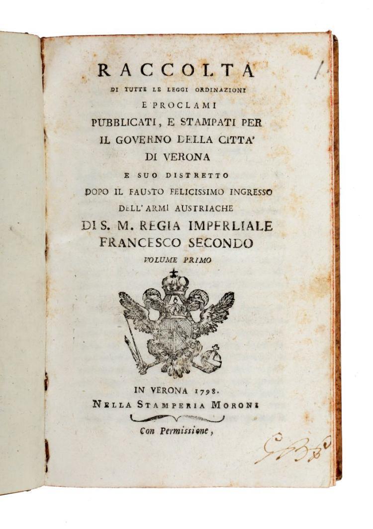 Verona. Raccolta di tutte le leggi ordinazioni e proclami... per il governo della città di Verona... Volume Primo [-Ottavo]. In Verona: Nella Stamperia Moroni, 1798-1800
