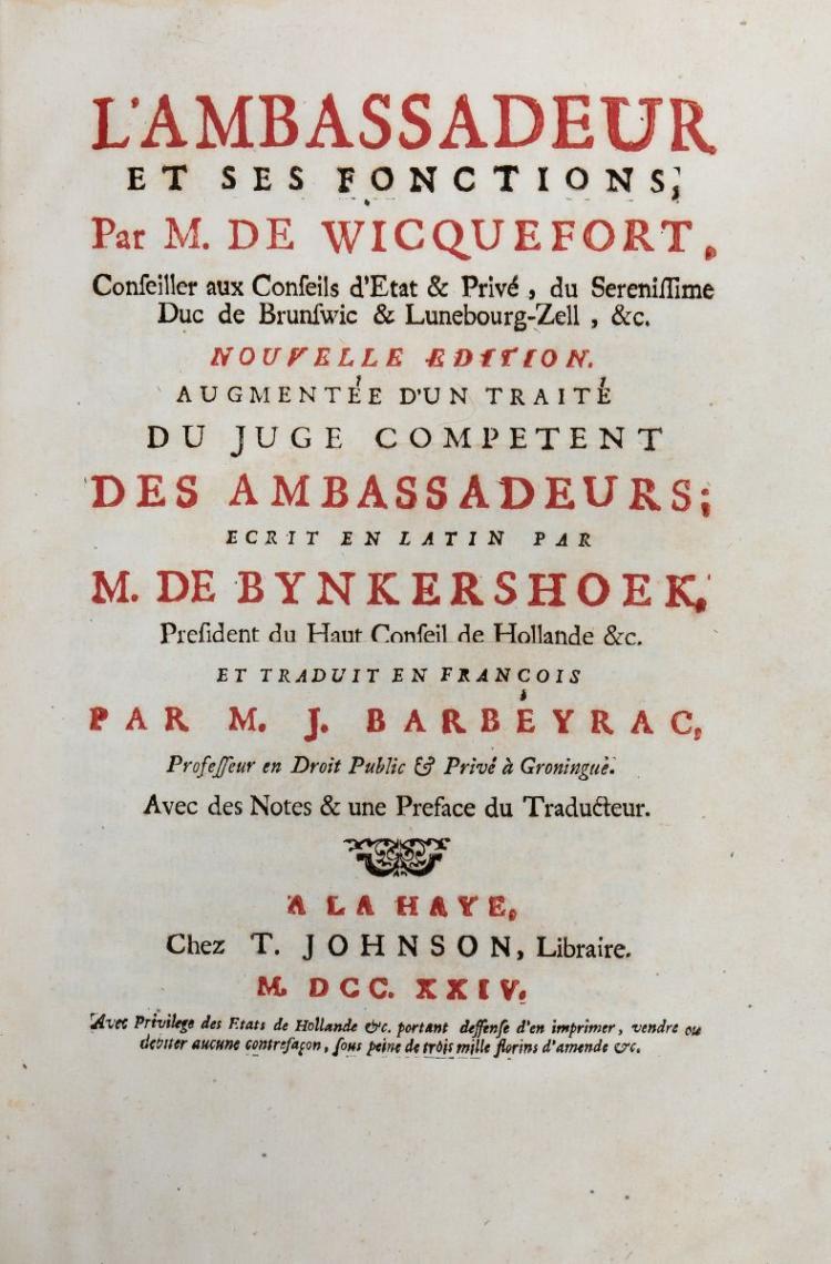 Wicquefort Abraham (van). L'Ambassadeur et ses fonctions... Tome Premier [-Second]. A La Haye: Chez T. Johnson, 1724