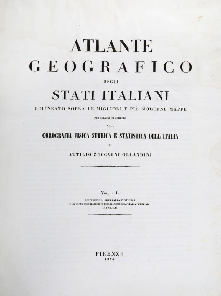 Zuccagni-Orlandini Attilio. Atlante Geografico degli Stati Italiani... Volume I [-II]. Firenze: 1844