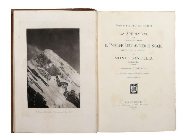 De Filippi Filippo. La spedizione di S.A.R. il Duca degli Abruzzi al monte Sant'Elia (Alaska) 1897... Seconda edizione. Milano: Ulrico Hoepli, 1900