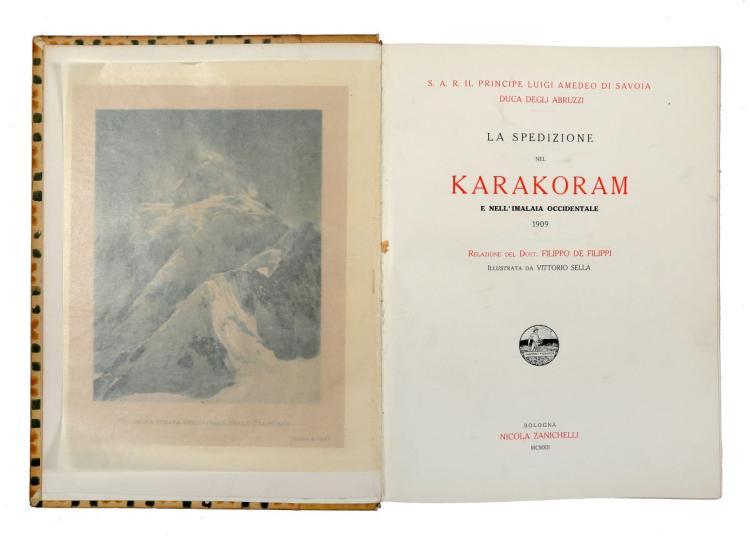 De Filippi Filippo. La spedizione nel Karakoram e nell'Imalaia occidentale, 1909... Bologna: Nicola Zanichelli, 1912
