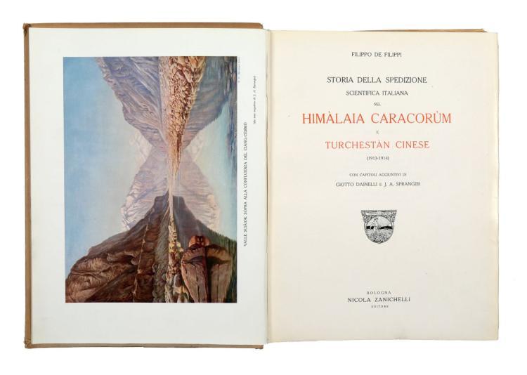 De Filippi Filippo. Storia della Spedizione Scientifica Italiana nel Himalaia Caracorum e Turchestan Cinese... Bologna: Nicola Zanichelli, s.d. [ma 1924]