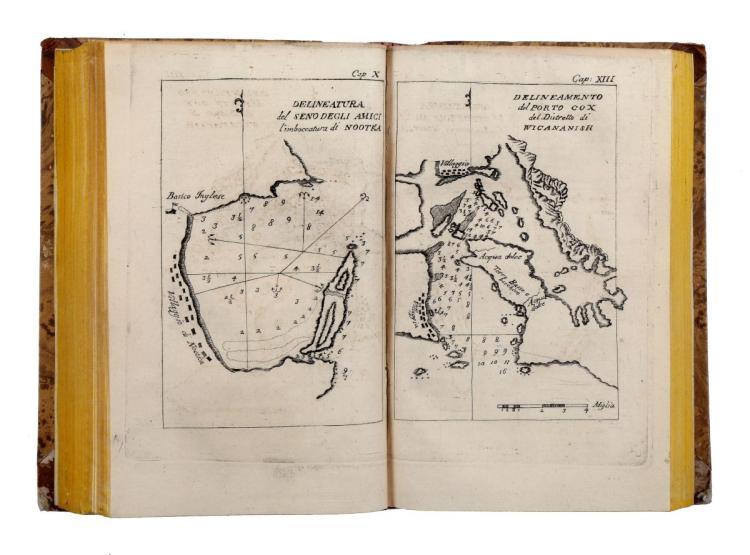 Meares John. Viaggi dalla China alla costa Nord-Ovest d'America fatti negli anni 1788 e 1789 dal capitano G. Meares... Torino: Dalla Stamperia Soffietti, 1797-1798
