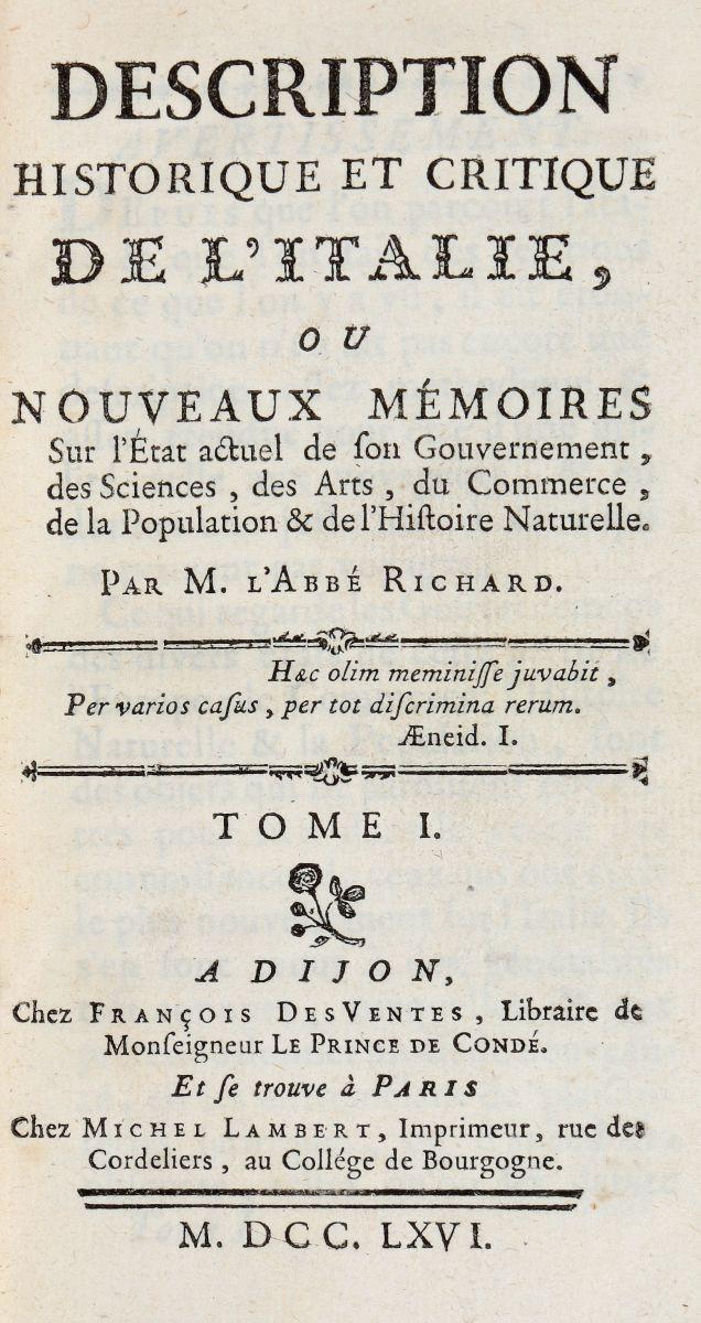 Richard Jérôme. Description historique et critique de l'Italie... A Dijon: chez François Des Ventes, 1766