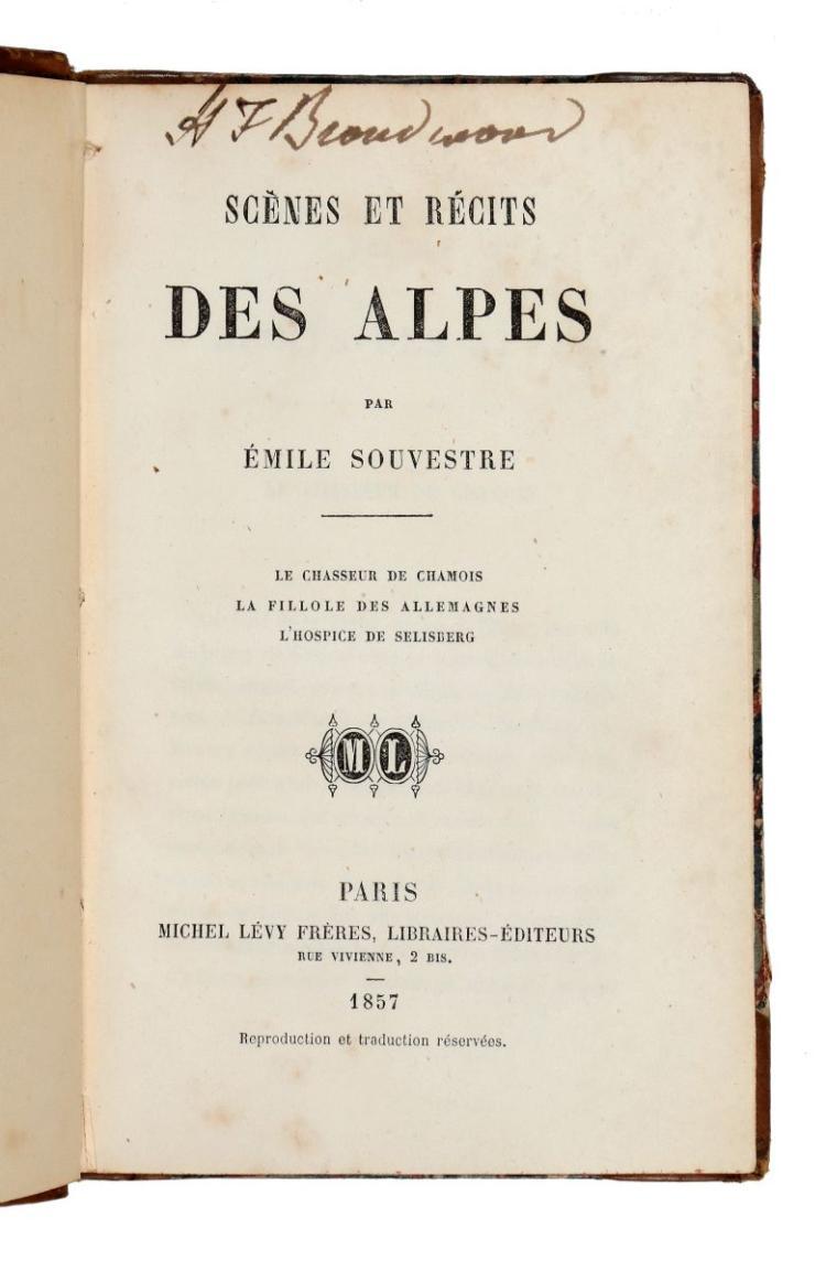Souvestre Emile. Scenes et recits des Alpes. Paris: Michel Lévy Frères, 1857