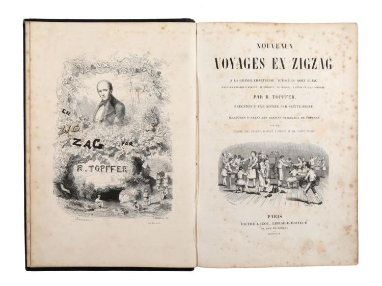 Töpffer Rodolphe. Nouveaux voyages en zigzag a la Grande Chartreuse... Paris: Victor Lecou, 1854