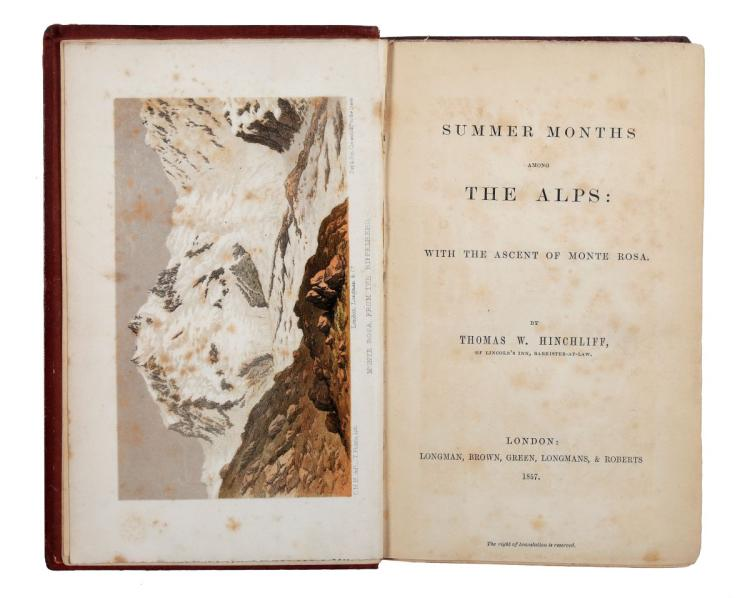 W. Hinchliff Thomas. Summer months among the Alps... London: Longman, Brown, Green, Longmans, & Roberts, 1857