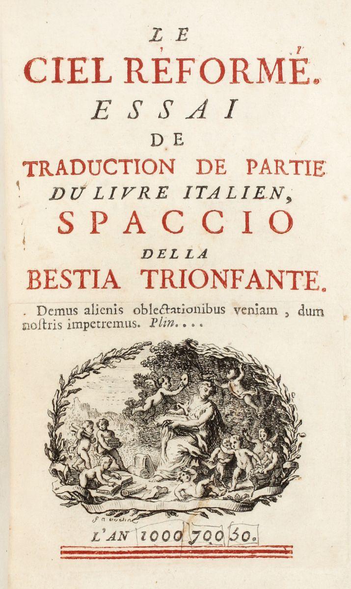 Bruno Giordano. Le Ciel reformé. Essai de traduction... 1750