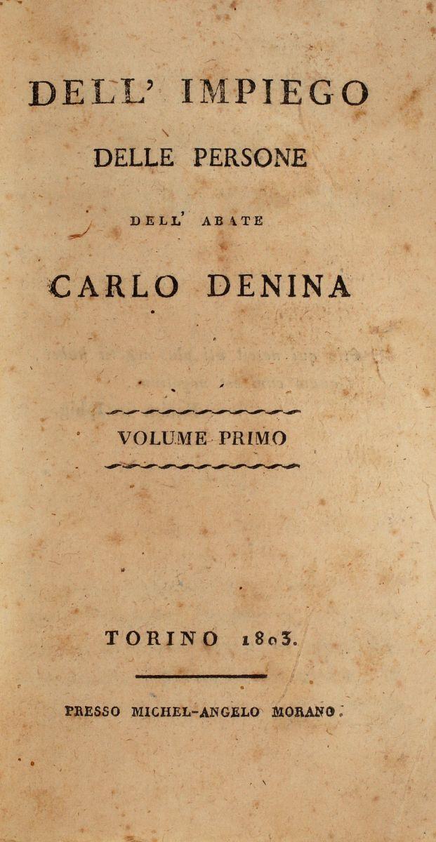 Denina Carlo. Dell'impiego delle persone. Torino: Presso Michel-Angelo Morano, 180