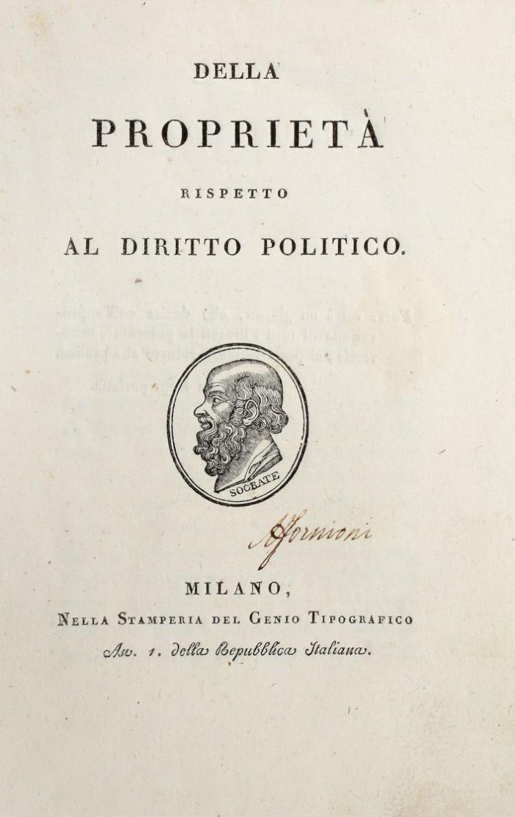 Garnier Germaine. Della proprietà rispetto al diritto politico. Milano: nella stamperia del Genio tipografico, 1802.