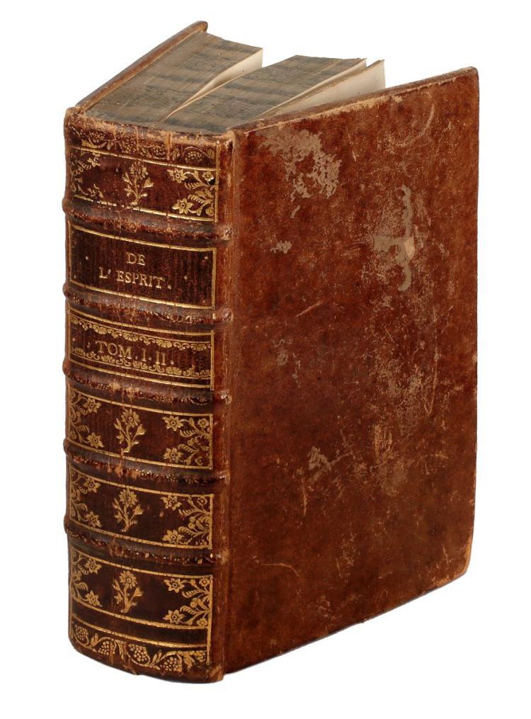Helvétius Claude Adrien. De l'Esprit. A Amsterdam et a Leipzig: Chez Arkstee & Merkus, 1759.