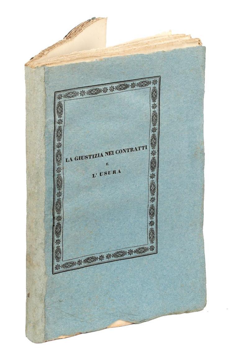 Leopardi Monaldo. La giustizia nei contratti e l'usura. Modena: dalla Reale tipografia eredi Soliani, 1834.