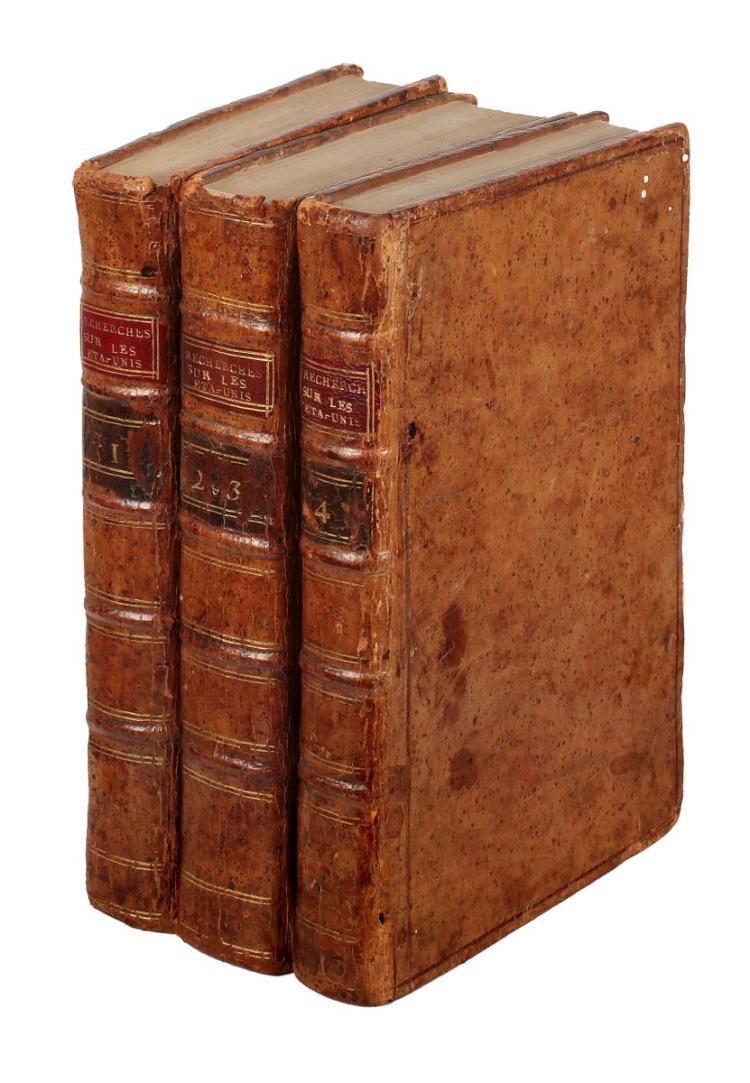 Mazzei Filippo. Recherches historiques et politiques sur les Etats-Unis de l'Amérique septentrionale. Paris: Jacques François Froulle, 1788.