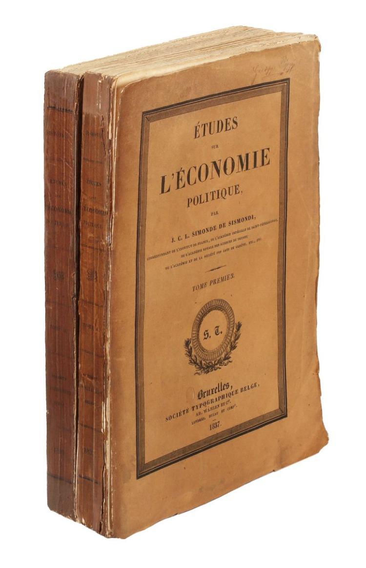 Sismondi Jean Charles Léonard Simonde (de). Études sur l'économie politique. Bruxelles: Société Typographique Belge, 1838.