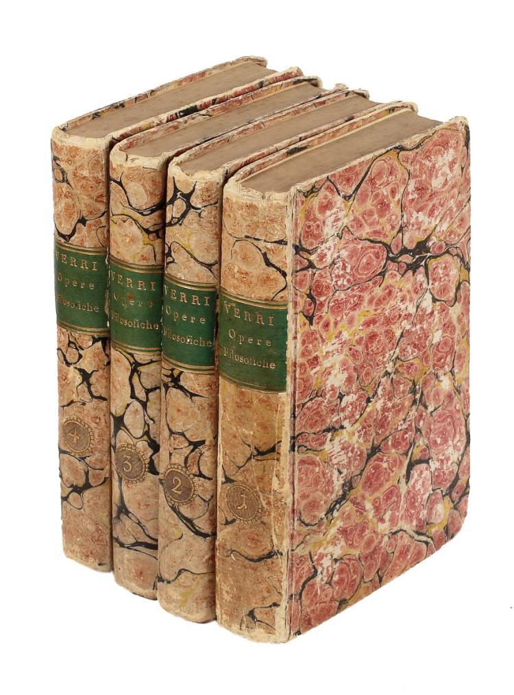 Verri Pietro. Opere filosofiche e d'economia politica... Prima edizione compiuta. Milano: Giovanni Silvestri, 1818.