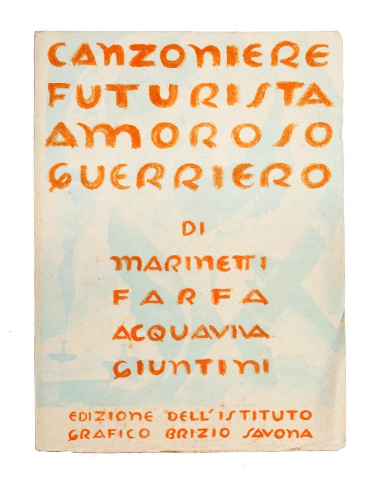 Marinetti Filippo Tommaso. Canzoniere Futurista Amoroso Guerriero. Savona: Edizioni dell'Istituto Grafico Brizio, 1943.