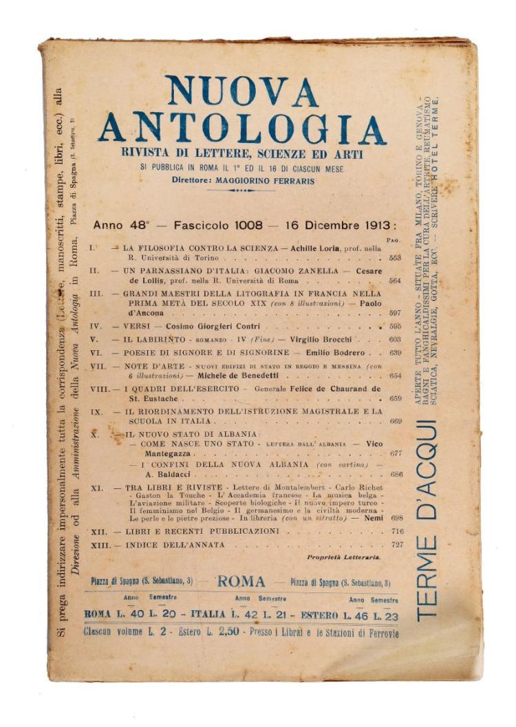 Riviste e Periodici, Nuova Antologia, Firenze, 1913.