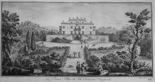 Filippo Morghen (1730-1807), after Giuseppe Zocchi (1717-1767) La Tana Villa de SSri Baroni Ricasoli, from: Vedute delle ville e d'altri luoghi della Toscana, 1744.