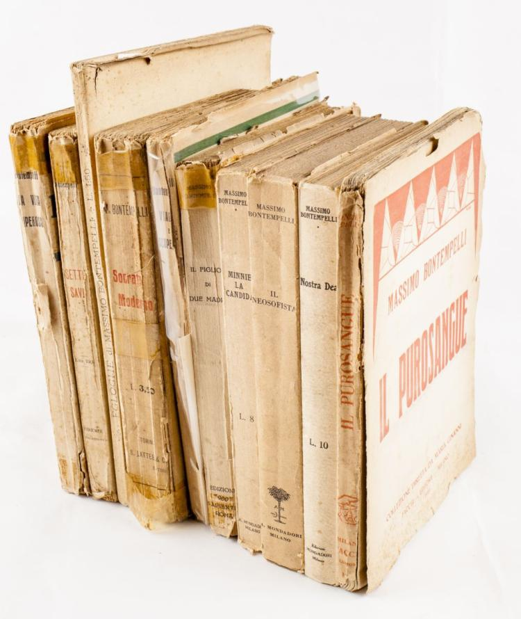 Bontempelli Massimo. Lotto di 10 volumi, molti in prima edizione e con dedica dell'Autore