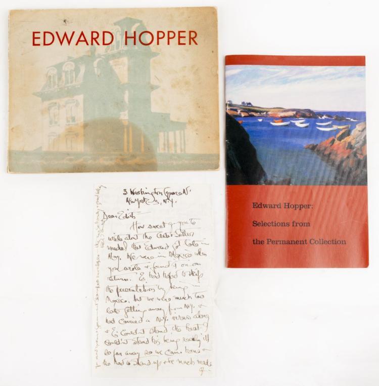 Hopper Edward. Edward Hopper. Restrospective Exhibition. Text by Lloyd Goodrich. New York: 1950. SI AGGIUNGE: Hopper Josephine (Jo). Lettera manoscritta. New York: June 28th, 1955. SI AGGIUNGE: Edward Hopper: Selections from the Permanent Collection. New York: 1989.