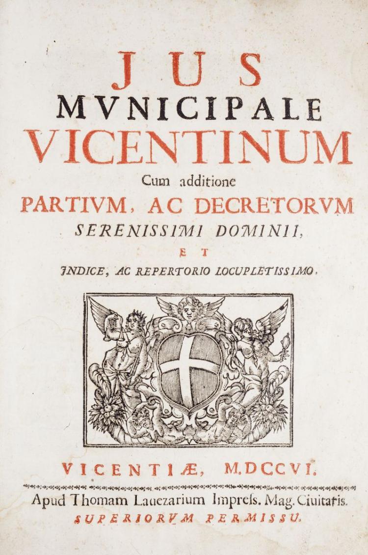 Vicenza. Jus municipale Vicentinum cum additione partium, ac decretorum serenissimi dominii, et indice; ac repertorio locupletissimo. Vicentiae: apud Thomam Lavezarium, 1706 .