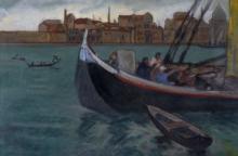Carpi Aldo. Barcone sulla Laguna. 1952.