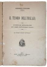 Piccioni Augusto (Momus). Il tesoro dell'Imalaja. Avventure meravigliose nel regno dell'elefante bianco... con disegni originali dell'autore. Milano - Palermo: Sandron, 1900.
