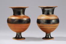 ARCHAIC GREEK PAIR OF GLAZED TERRACOTTA LYDIA