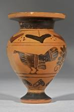 ARCHAIC GREEK BLACK FIGURE TERRACOTTA LYDION WITH ROOSTER