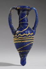 HELLENISTIC GREEK BLUE AND YELLOW GLASS AMPHORISKOS