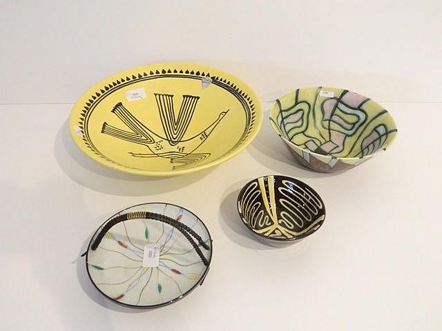 Lot de trois coupes aux décors polychromes divers, circa 1950-60, céramique