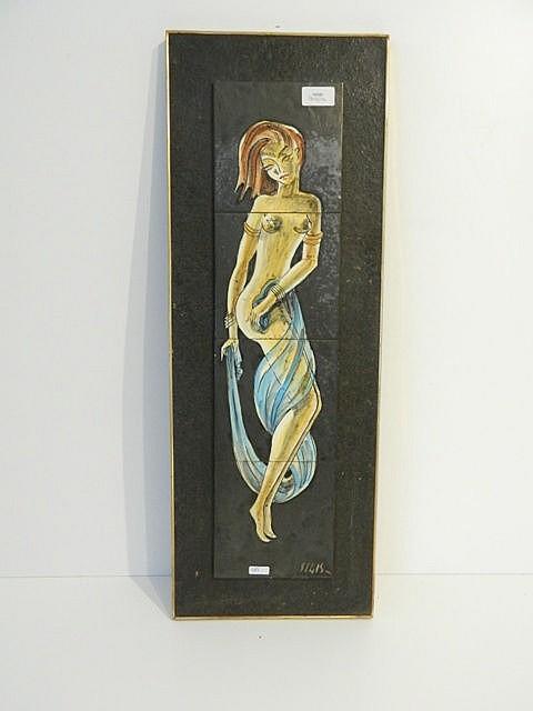 Panneau décoratif orné d'une danseuse, circa 1960, carreaux en céramique ém
