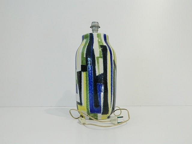 Pied de lampe Vintage, années 1970, faïence à décor stylisé bleu, vert, noi