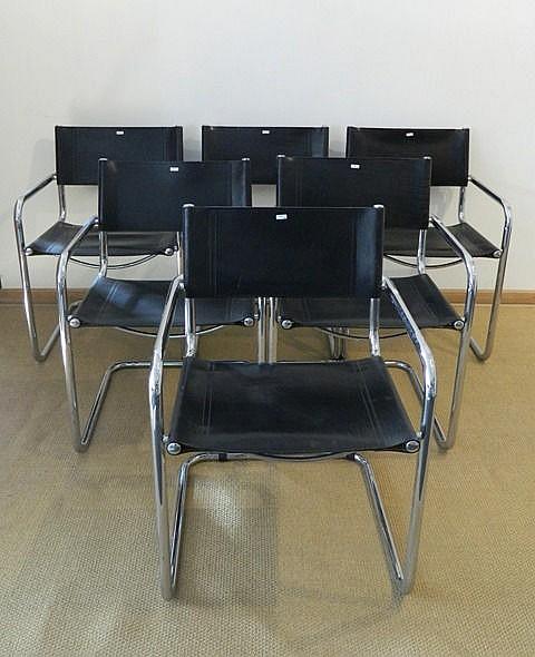 Suite de six fauteuils type Marcel Breuer B34, circa 1980, métal chromé et