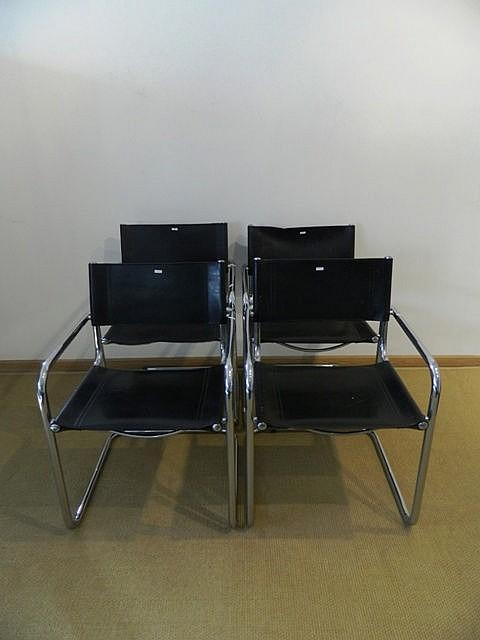 Suite de quatre fauteuils type Marcel Breuer B34, circa 1980, métal chromé
