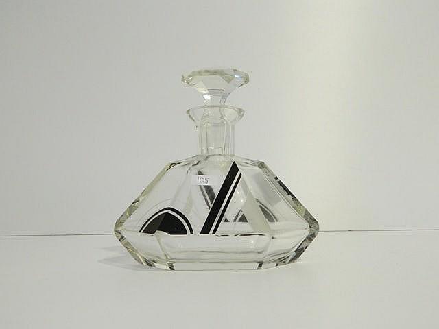 Flacon à parfum polygonal d'époque Art déco en cristal, décor géométrique n