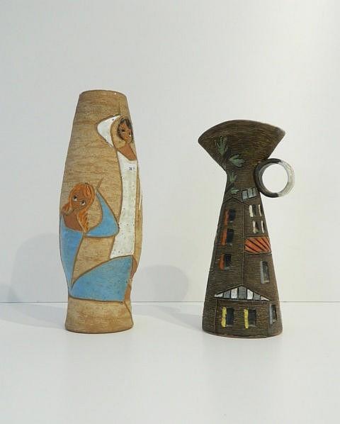 Une cruche et un vase aux décors figuratifs polychromes sur fond mat, circa