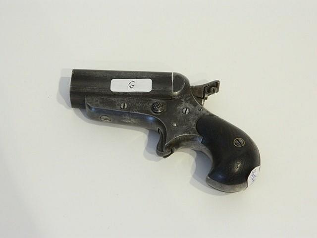 Petit pistolet à quatre canons, XIXe, marqué [C. Sharps - 1859], l. 12 cm.