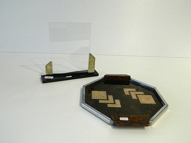 Petit plateau octogonal et porte-photo biseauté d'époque Art déco, circa 19