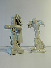 Lot de deux sujets en porcelaine émaillée, XXe : TÉCO - BELGIQUE,