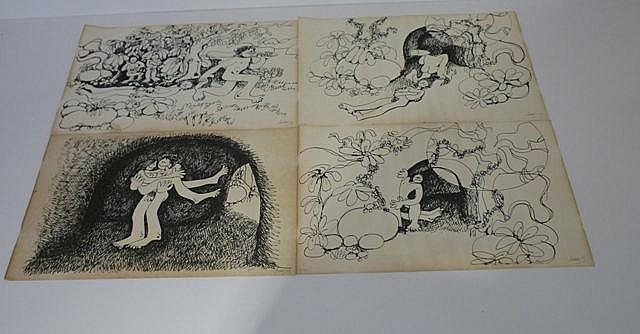 Ensemble de 4 dessins, signés et datés en bas à droite [très bon état].